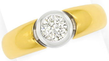Foto 1, Diamantring 0,60ct lupenreiner Brilliant in 18K Bicolor, R7954