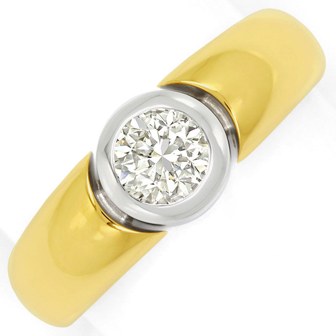 Foto 2, Diamantring 0,60ct lupenreiner Brilliant in 18K Bicolor, R7954