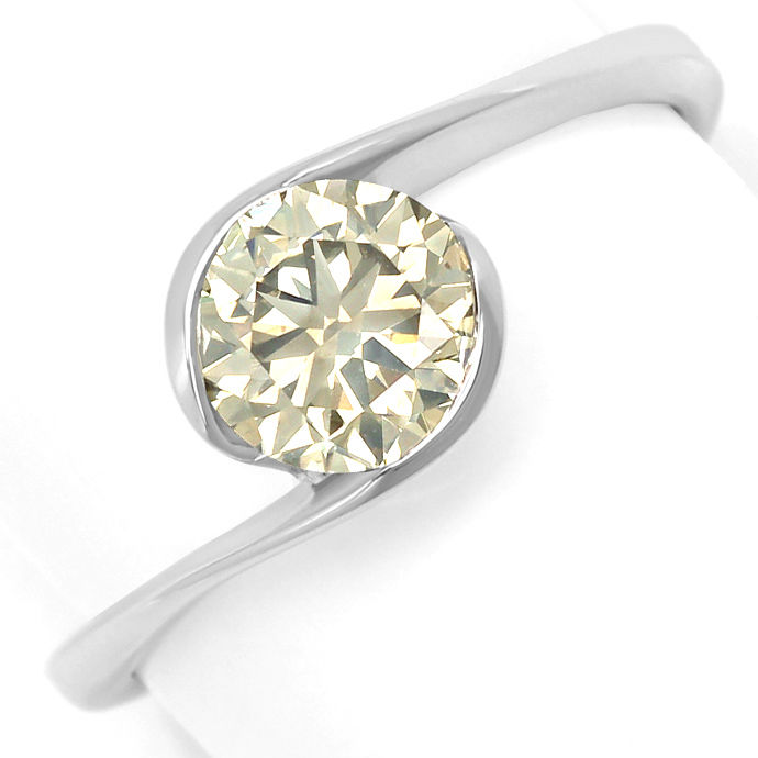 Diamantring mit 1,13ct Brillant Solitär in 18K Weißgold, Designer Ring