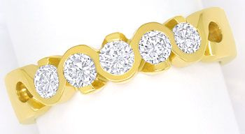 Foto 1, Halbmemory Diamantenring mit 0,52ct Brillanten 18K Gold, R8070