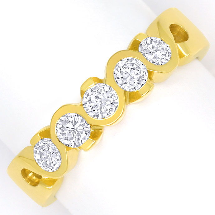Foto 2, Halbmemory Diamantenring mit 0,52ct Brillanten 18K Gold, R8070
