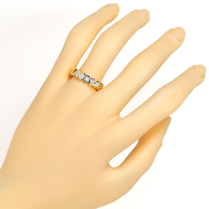 Foto 4, Halbmemory Diamantenring mit 0,52ct Brillanten 18K Gold, R8070