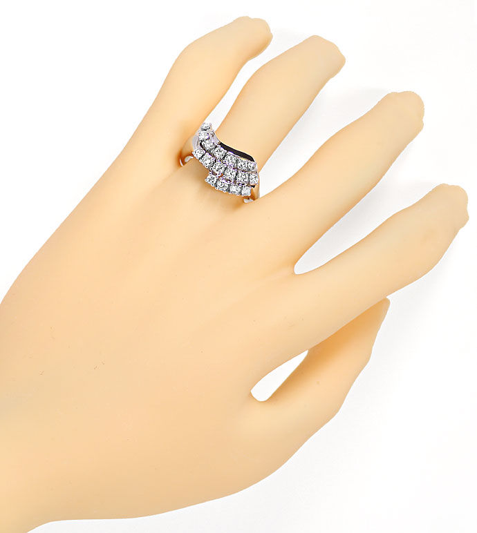 Foto 4, Handarbeits Weissgoldring mit 1,18ct Brillianten in 18K, R8101