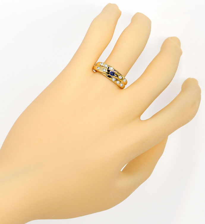 Foto 4, Goldring mit Safir-Cabochon und 0,12ct Diamanten in 14K, R8116