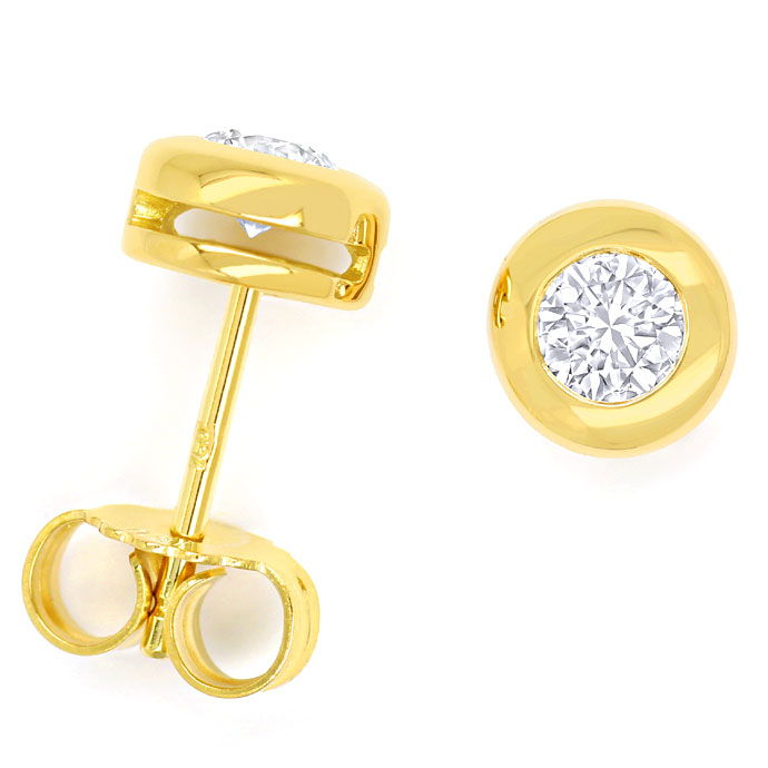 Foto 1, Gelbgold Diamantohrstecker mit 0,54ct Brillanten in 18K, R8396