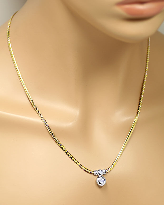 Foto 4, Diamantenkollier mit 0,38ct Brillanten 14K Bicolor Gold, R8399