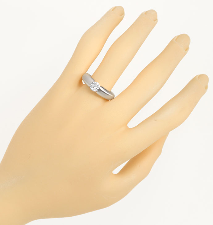 Foto 4, Diamant-Spannring 0,61ct Brillant massives Weißgold 750, R8420