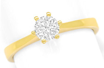 Foto 1, Diamantring 0,49ct lupenreiner Brillant in 18K Gelbgold, R8425