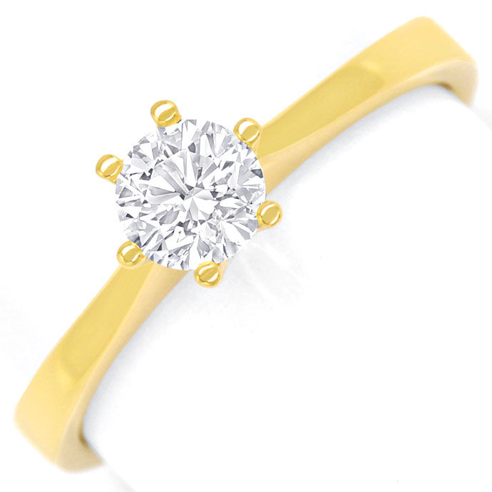Foto 2, Diamantring 0,49ct lupenreiner Brillant in 18K Gelbgold, R8425
