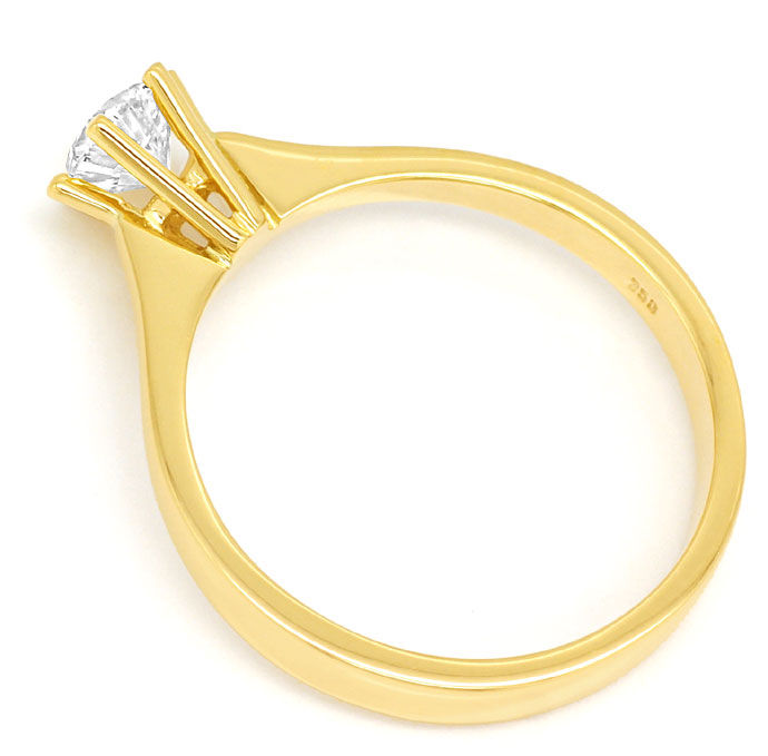 Foto 3, Diamantring 0,49ct lupenreiner Brillant in 18K Gelbgold, R8425