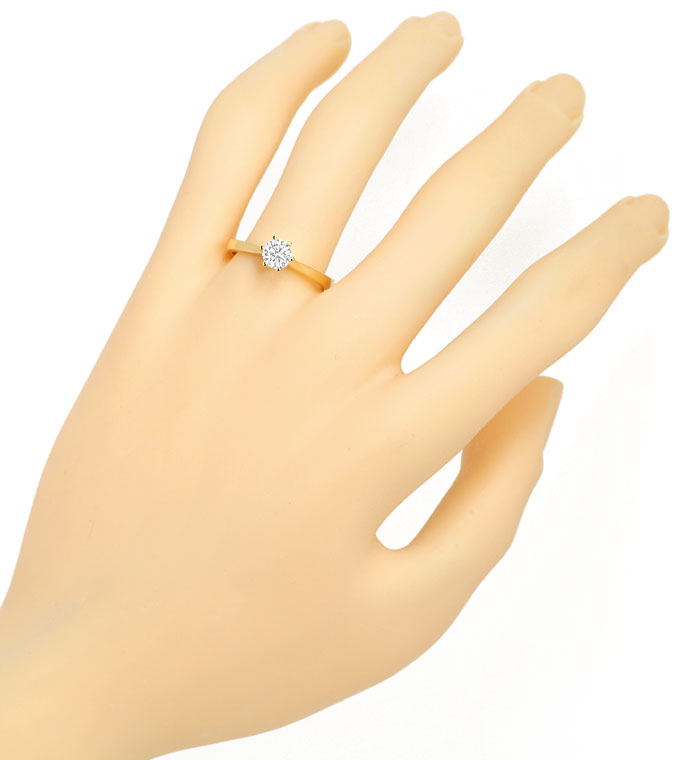 Foto 4 - Diamantring 0,49ct lupenreiner Brillant in 18K Gelbgold, R8425