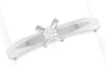 Foto 1, Niessing Vorsteck-Diamantring 0,06ct Brillant Weissgold, R8461