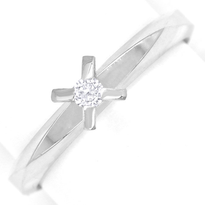 Foto 2, Niessing Vorsteck Diamantring 0,06ct Brillant Weissgold, R8461