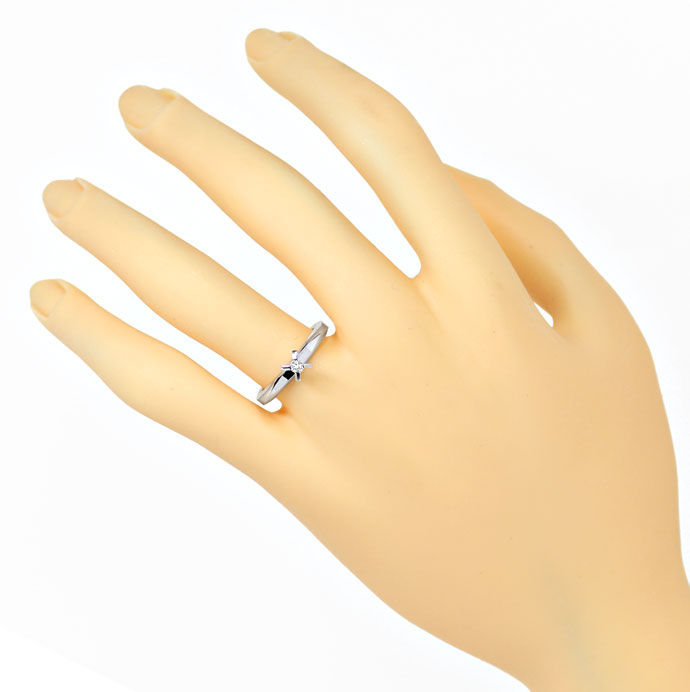 Foto 4, Niessing Vorsteck Diamantring 0,06ct Brillant Weissgold, R8461