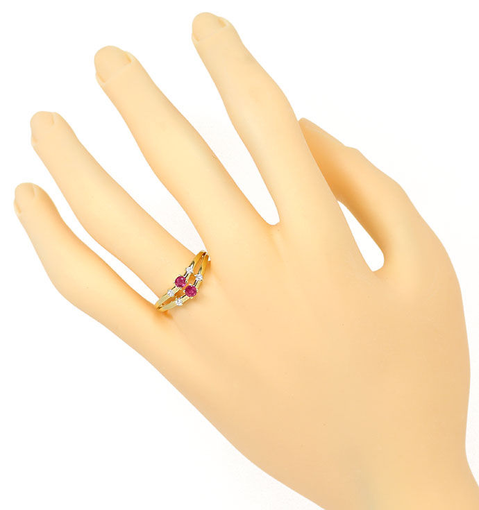 Foto 4, Diamant Rubin Ring 0,08ct Brillanten 0,26ct Rubine, 14K, R8462