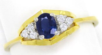 Foto 1, Safir-Diamanten-Ring 0,47ct Safir und 0,11ct Brillanten, R8469