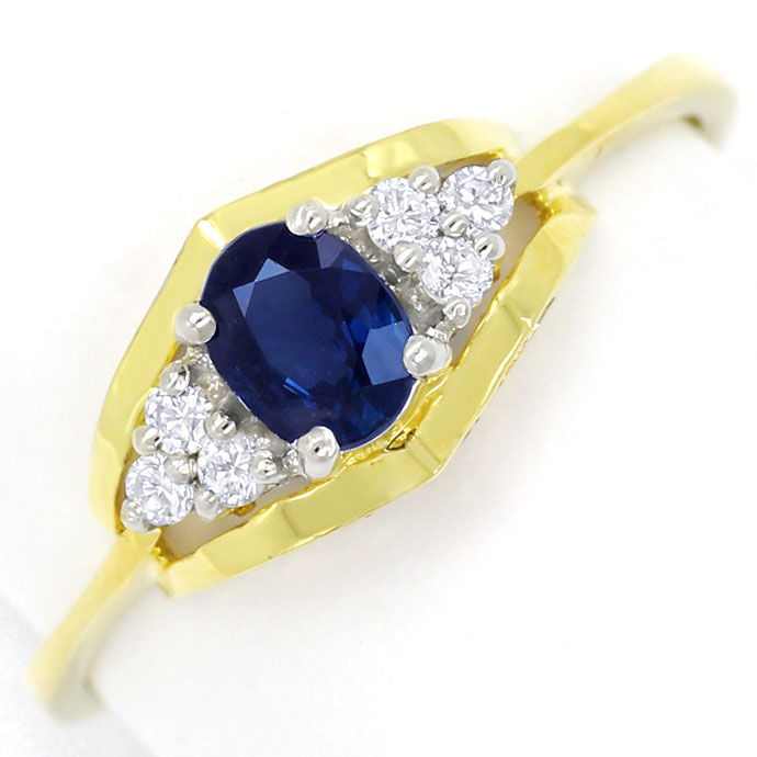 Foto 2, Safir Diamanten Ring 0,47ct Safir und 0,11ct Brillanten, R8469