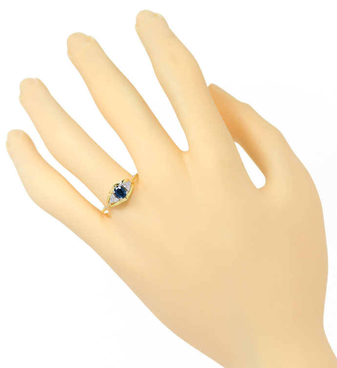 Foto 4, Safir Diamanten Ring 0,47ct Safir und 0,11ct Brillanten, R8469