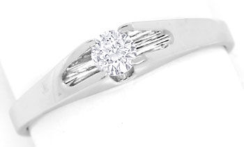 Foto 1, Diamantring mit 0,19ct Brillant Solitär in 14K Weißgold, R8480