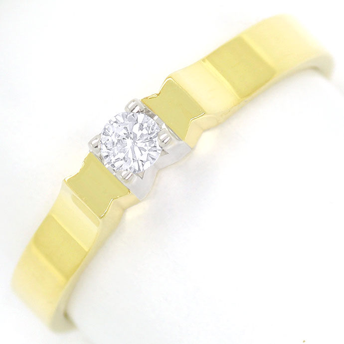 Foto 2, Diamantring 0,08ct Brilliant Solitär Gelbgold Weissgold, R8482