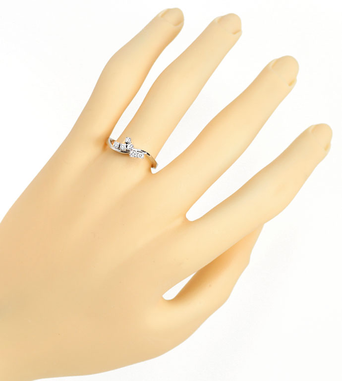 Foto 4, Diamantring mit 0,19ct River Brillanten in 14K Weißgold, R8483