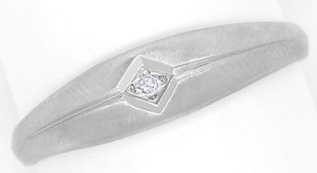 Foto 1, Band Ring mit Lupenreinem River Diamant in 950er Platin, R8496