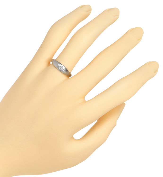 Foto 4, Band Ring mit Lupenreinem River Diamant in 950er Platin, R8496