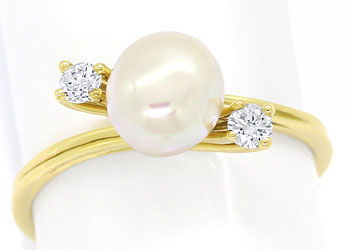 Foto 1, Feiner Perlen Ring mit 0,14ct River Brillanten 14K Gold, R8504
