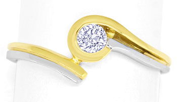 Foto 1, Diamantsolitärring mit 0,2ct River Brillant in 14K Gold, R8506