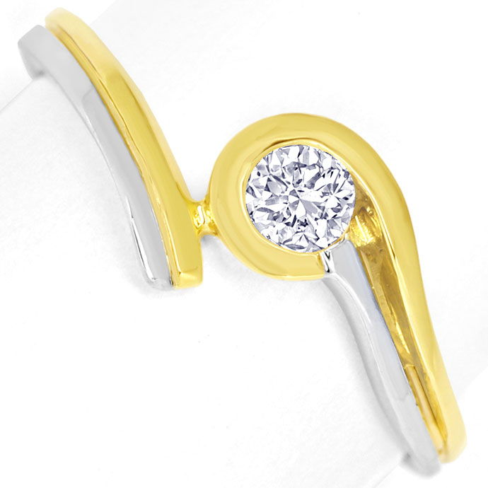 Foto 2, Diamantsolitärring mit 0,2ct River Brillant in 14K Gold, R8506