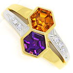 Designer-Ring mit Amethyst, Citrin, Diamanten, 14K Gold