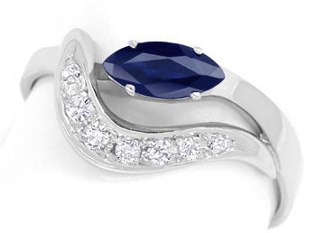 Foto 1 - Safir Ring mit 0,11ct River Diamanten in 585er Weißgold, R8527