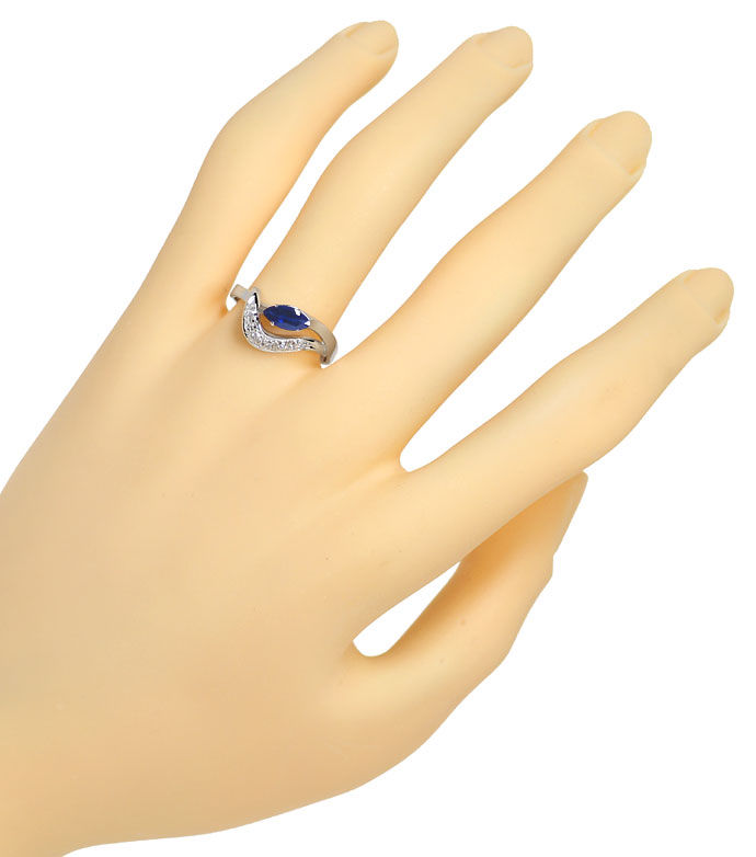 Foto 4 - Safir Ring mit 0,11ct River Diamanten in 585er Weißgold, R8527