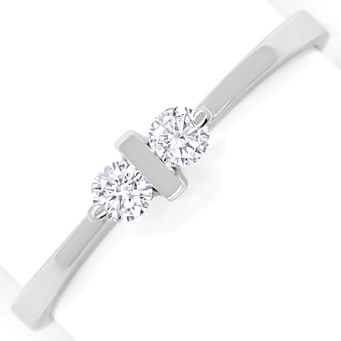 Foto 2, Feiner Diamantenring mit 0,16ct Brillanten in Weissgold, R8542