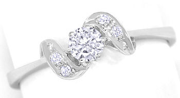 Foto 1 - Edler Diamantring mit 0,24ct Diamanten in 14K Weissgold, R8629