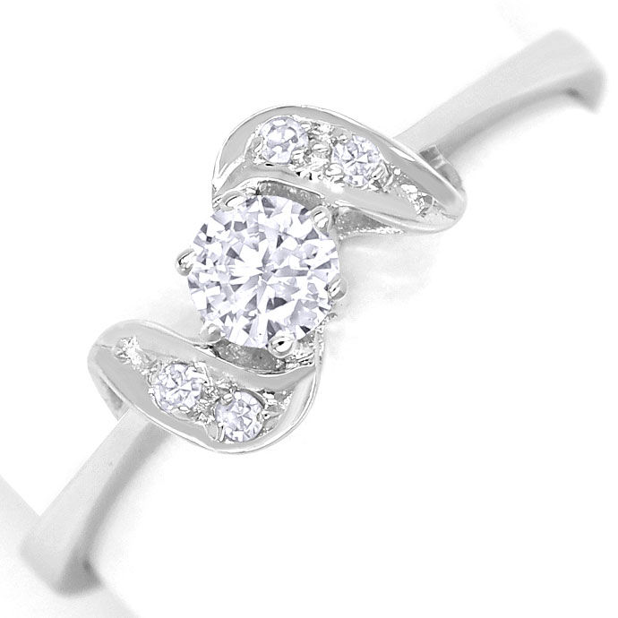 Foto 2, Edler Diamantring mit 0,24ct Diamanten in 14K Weissgold, R8629