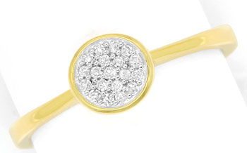 Foto 1, Gold Ring mit 19 Diamanten in einer dekorativen Rosette, R8668