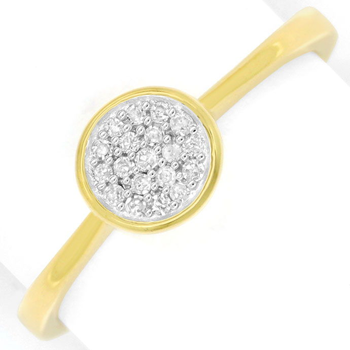 Foto 2, Gold Ring mit 19 Diamanten in einer dekorativen Rosette, R8668