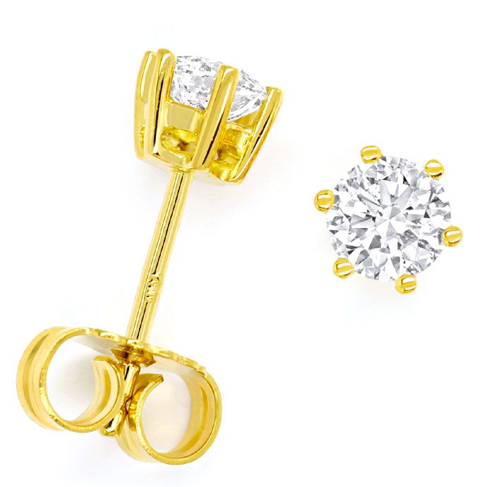Foto 1 - Diamantohrstecker mit 0,70ct Brillanten in 18K Gelbgold, R8684