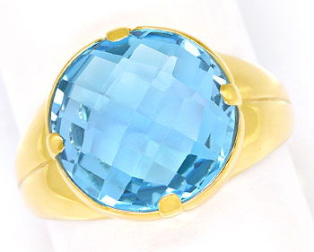 Foto 1, Gold Ring, mit hellblauem Double Checkerboard Edelstein, R8686