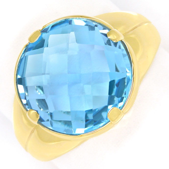 Foto 2, Gold Ring, mit hellblauem Double Checkerboard Edelstein, R8686