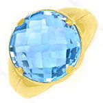 Gold Ring, mit hellblauem Double Checkerboard Edelstein