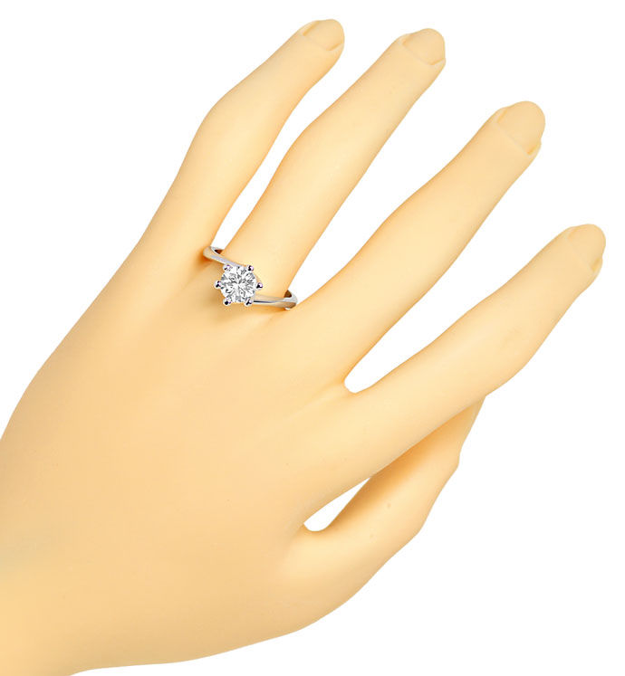 Foto 4, Brillant Solitär 1,20ct HRD Expertise in Weissgold Ring, R8693