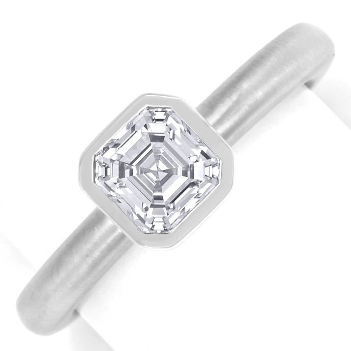 Diamantsolitärring 1,12 lupenrein Top Wesselton Asscher, Designer Ring