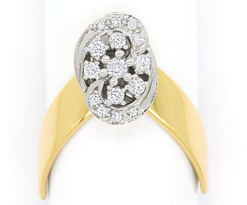 Foto 1, Designer Diamantring mit 0,27ct Brillianten in 14K Gold, R8863