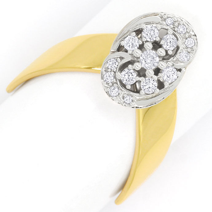 Foto 2, Designer Diamantring mit 0,27ct Brillianten in 14K Gold, R8863