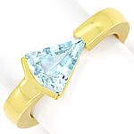 Sensationeller Design Ring mit 2,1ct Triangel Aquamarin