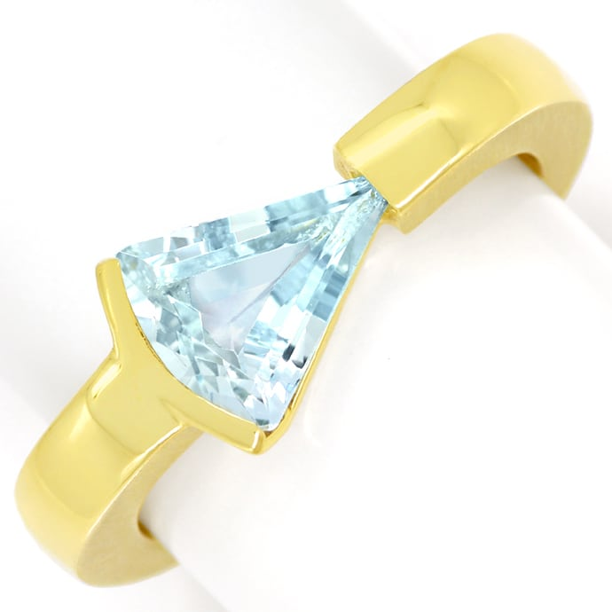 Sensationeller Design Ring mit 2,1ct Triangel Aquamarin, Edelstein Farbstein Ring