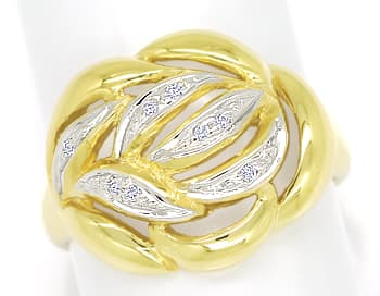 Foto 1, Dekorativer Diamanten Ring mit 8 Brillanten in 14K Gold, R8968
