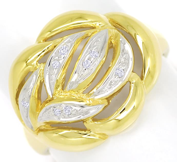 Foto 2, Dekorativer Diamanten Ring mit 8 Brillanten in 14K Gold, R8968